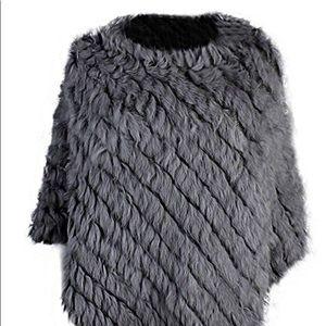 NWT gray rabbit fur poncho.